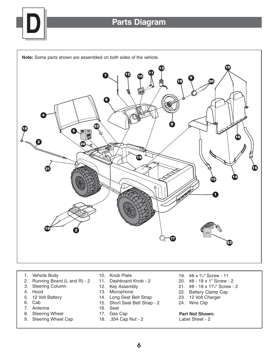 hight resolution of parts diagram fisher price power wheels by fisher price chevrolet silverado b1476 user manual page 6 32