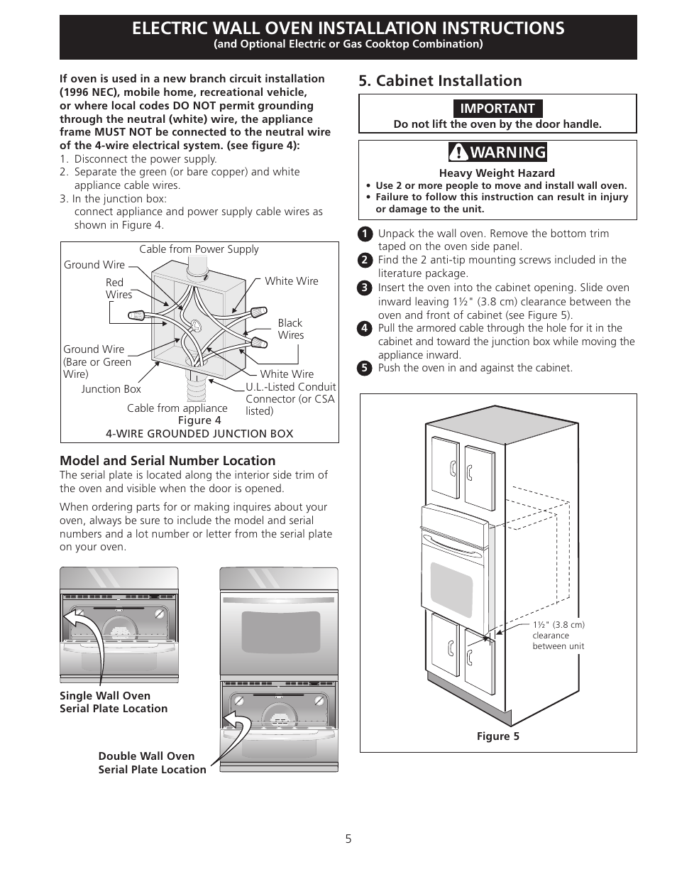 Electric wall oven installation instructions, Cabinet