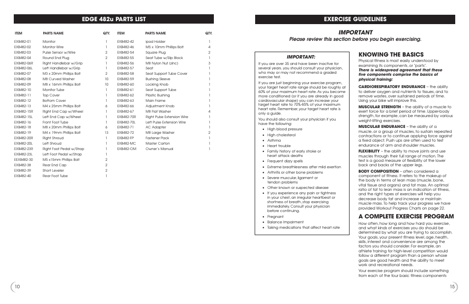 Edge 482u parts list, Important, Exercise guidelines