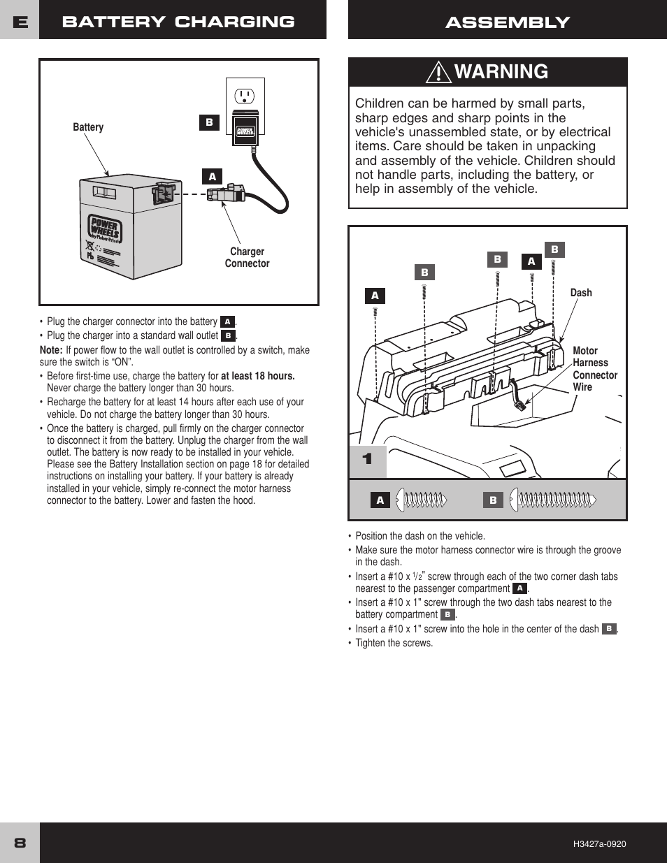 hight resolution of warning 1assembly battery charging fisher price barbie jammin jeep h3427 user manual page 8 28