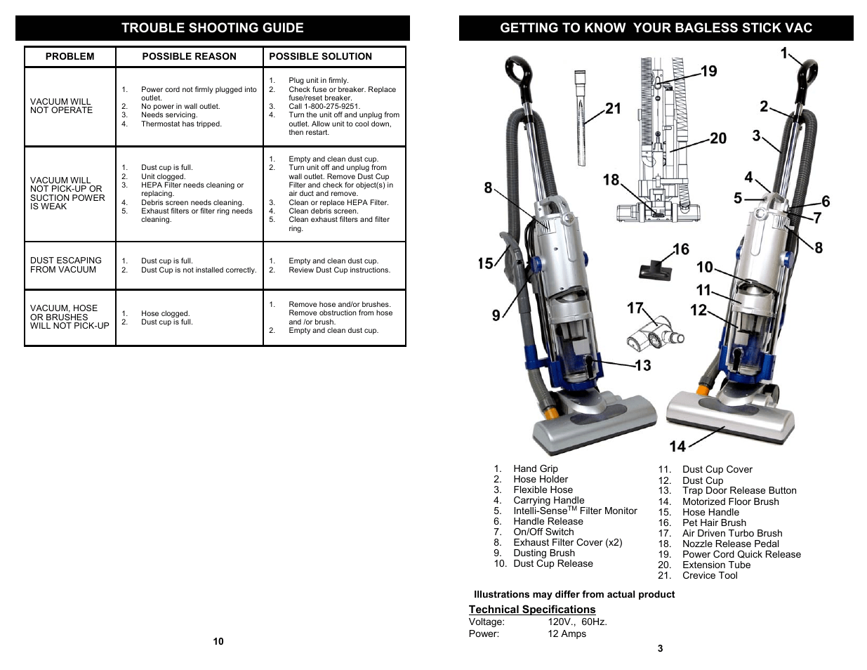 Getting to know your bagless stick vac, Trouble shooting