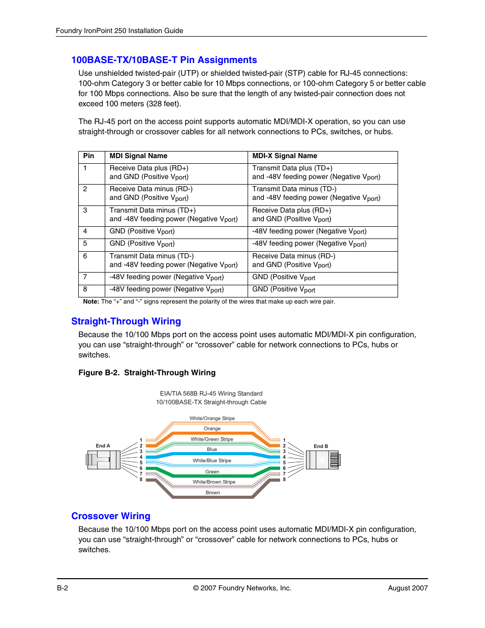 medium resolution of 100base tx 10base t pin assignments straight through wiring crossover wiring foundry networks ironpoint 250 user manual page 46 64