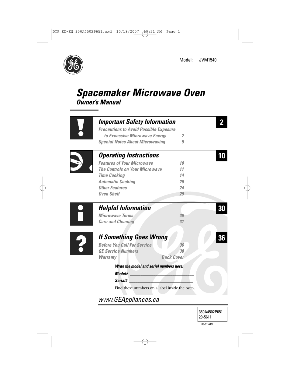 Ge Spacesaver Microwave Oven