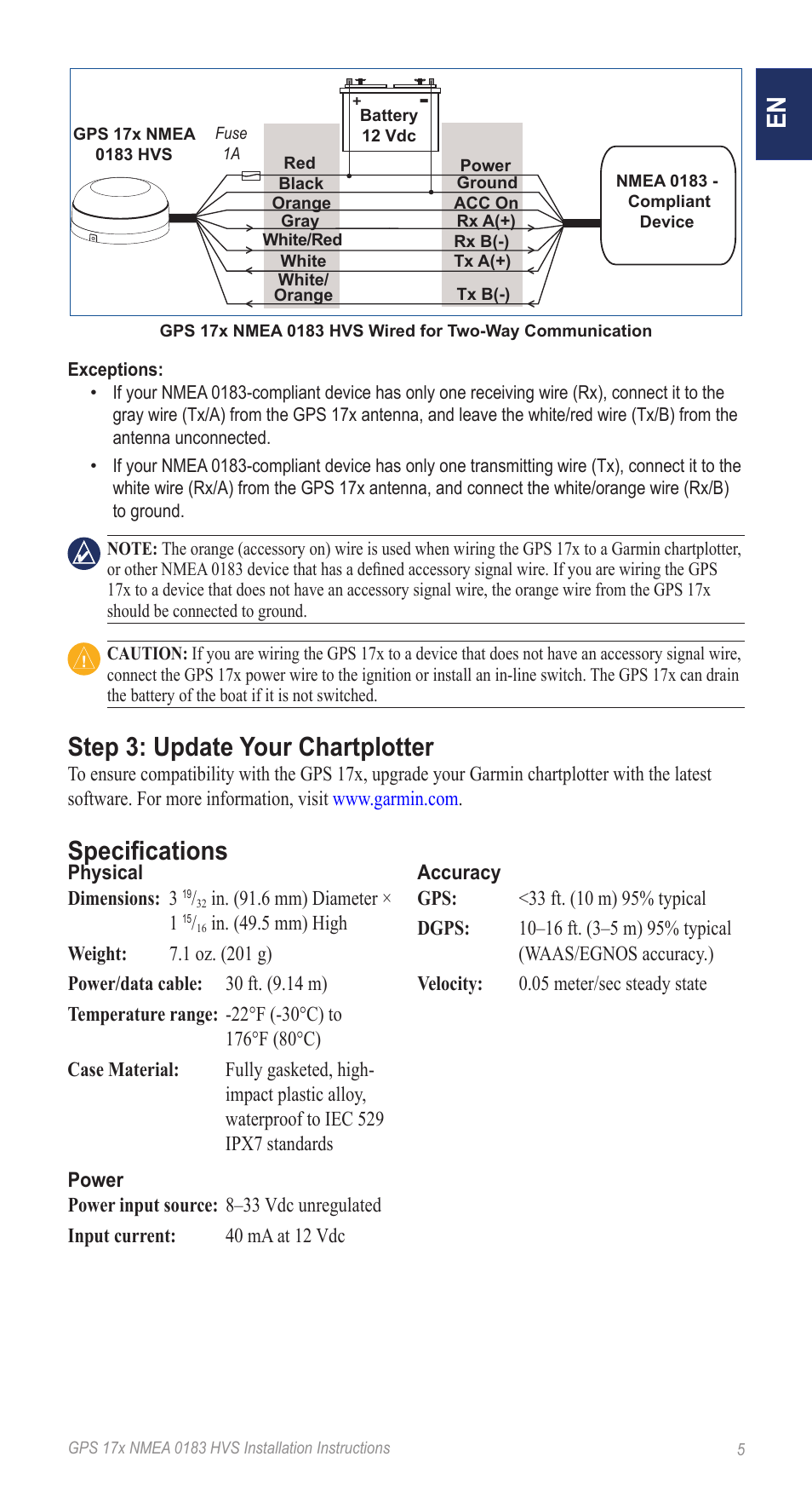 medium resolution of step 3 update your chartplotter specifications garmin nmea 0183 rh manualsdir com garmin striker 4 wiring garmin 160 fishfinder wiring
