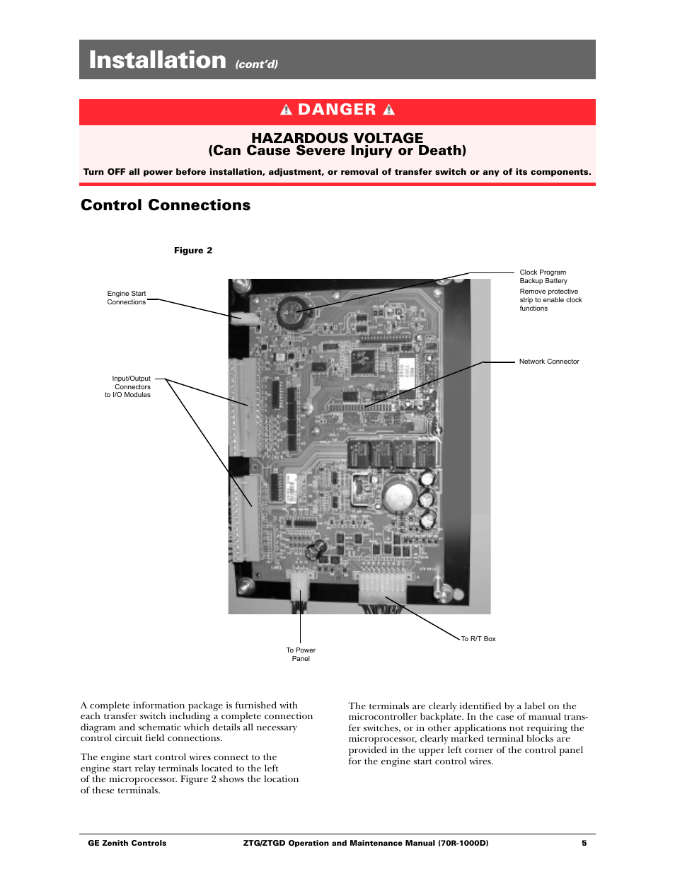 medium resolution of installation danger control connections ge ztgd series transfer switches 40 3000 amps user manual page 5 36