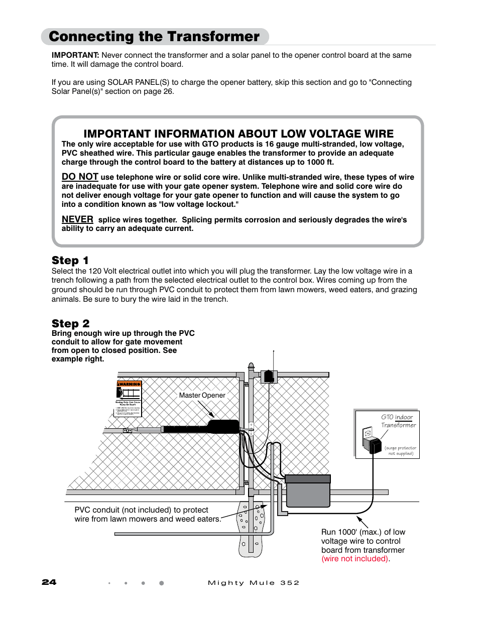 medium resolution of connecting the transformer step 1 step 2 gto mighty mule 352 user manual page 28 48