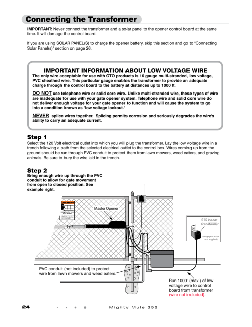small resolution of connecting the transformer step 1 step 2 gto mighty mule 352 user manual page 28 48