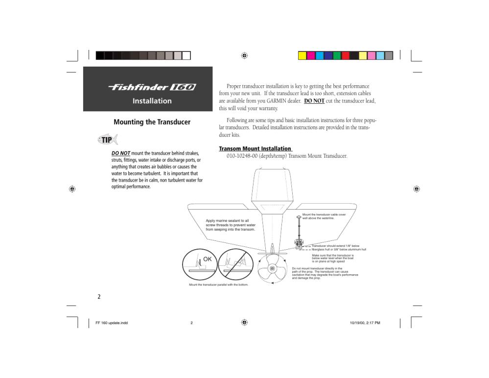 medium resolution of installation mounting the transducer garmin 160 user manual page 10 50