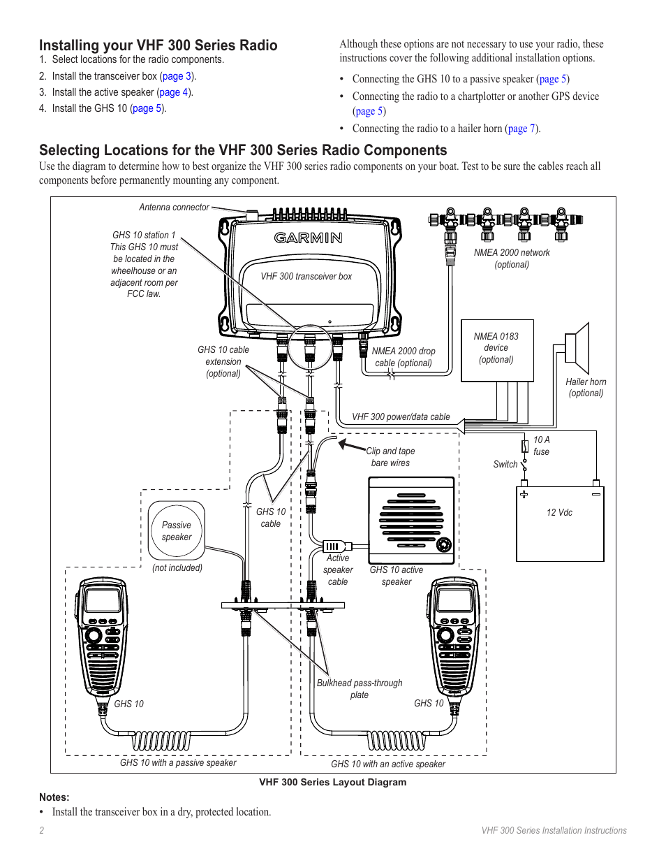 hight resolution of installing your vhf 300 series radio garmin vhf ghs 10i user manual page 2 12