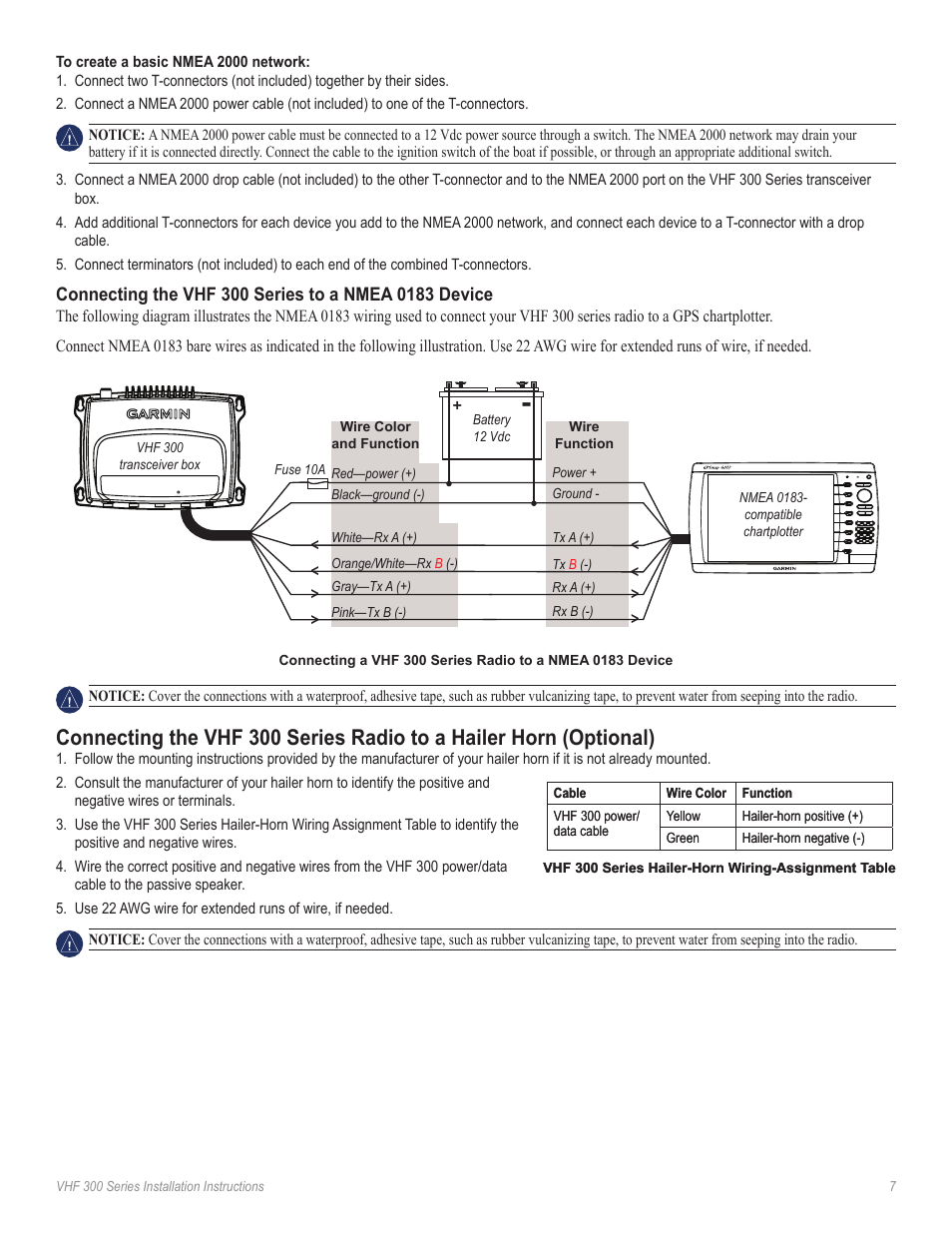 hight resolution of connecting the radio to a hailer horn garmin vhf ghs 10i user manual page 7 12