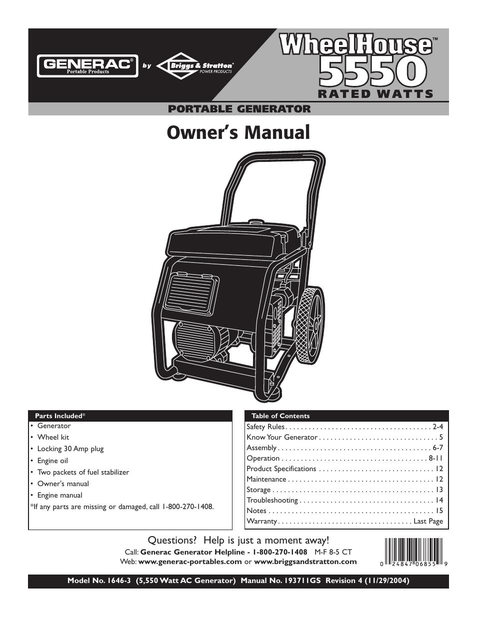 medium resolution of generac generator specification