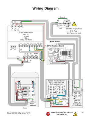 Wiring diagram, Rpm sensor rpm readout board | Grizzly 18