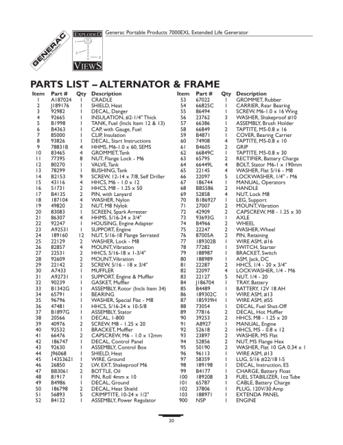 small resolution of parts list alternator frame generac 7000exl user manual page 20 24