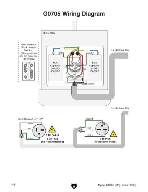 small resolution of g0705 wiring diagram 110 vac grizzly g0705 user manual page 48 60110 vac wiring
