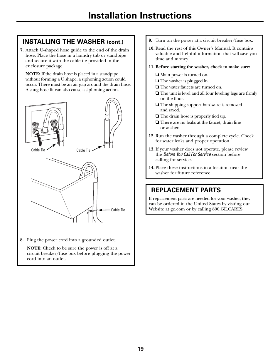 hight resolution of replacement parts installation instructions installing the washer ge ghdvh670 user manual page 19 76