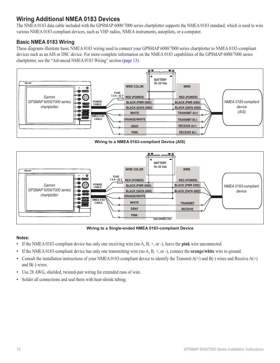 medium resolution of wiring additional nmea 0183 devices basic nmea 0183 wiring garmin gpsmap 7000 series user manual page 12 20