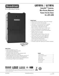 Goodman Mfg VARIABLE-SPEED GAS FURNACE GMVM96 User Manual ...