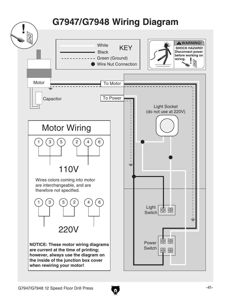 hight resolution of 110v motor wiring 220v grizzly 12 speed press g7947 user manual page 43 56