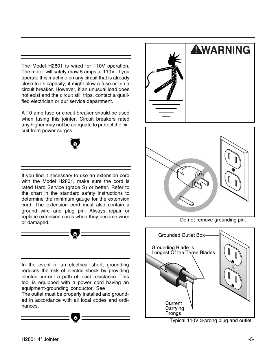 medium resolution of 110v operation extension cords grounding grizzly h2801 user manual page 7 32