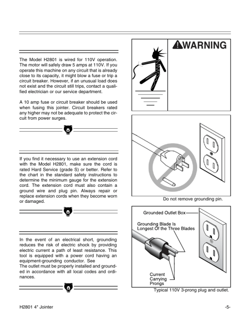 small resolution of 110v operation extension cords grounding grizzly h2801 user manual page 7 32