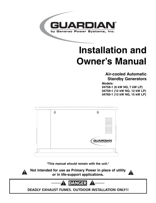 small resolution of generac power systems 04758 1 user manual 56 pages also for 04759 1 04760 1