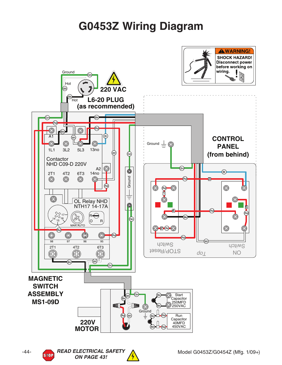 hight resolution of g0453z wiring diagram 220v motor grizzly g0453px user start capacitor wiring diagram