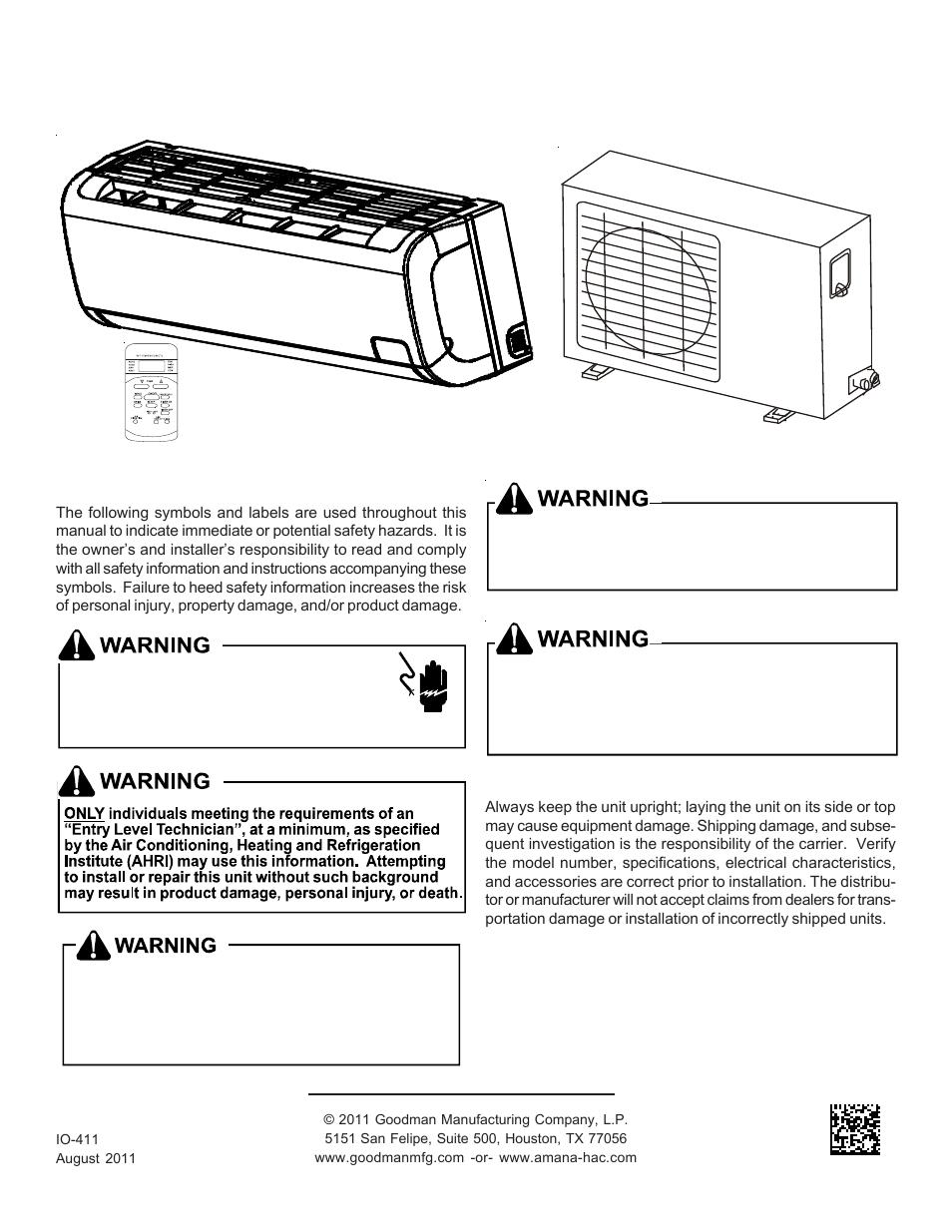 hight resolution of goodman mfg split type room air conditioner and heat pump 000 12 user manual 12 pages also for split type room air conditioner and heat pump msc msh 9