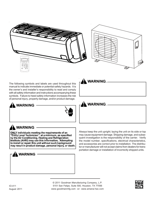 small resolution of goodman mfg split type room air conditioner and heat pump 000 12 user manual 12 pages also for split type room air conditioner and heat pump msc msh 9