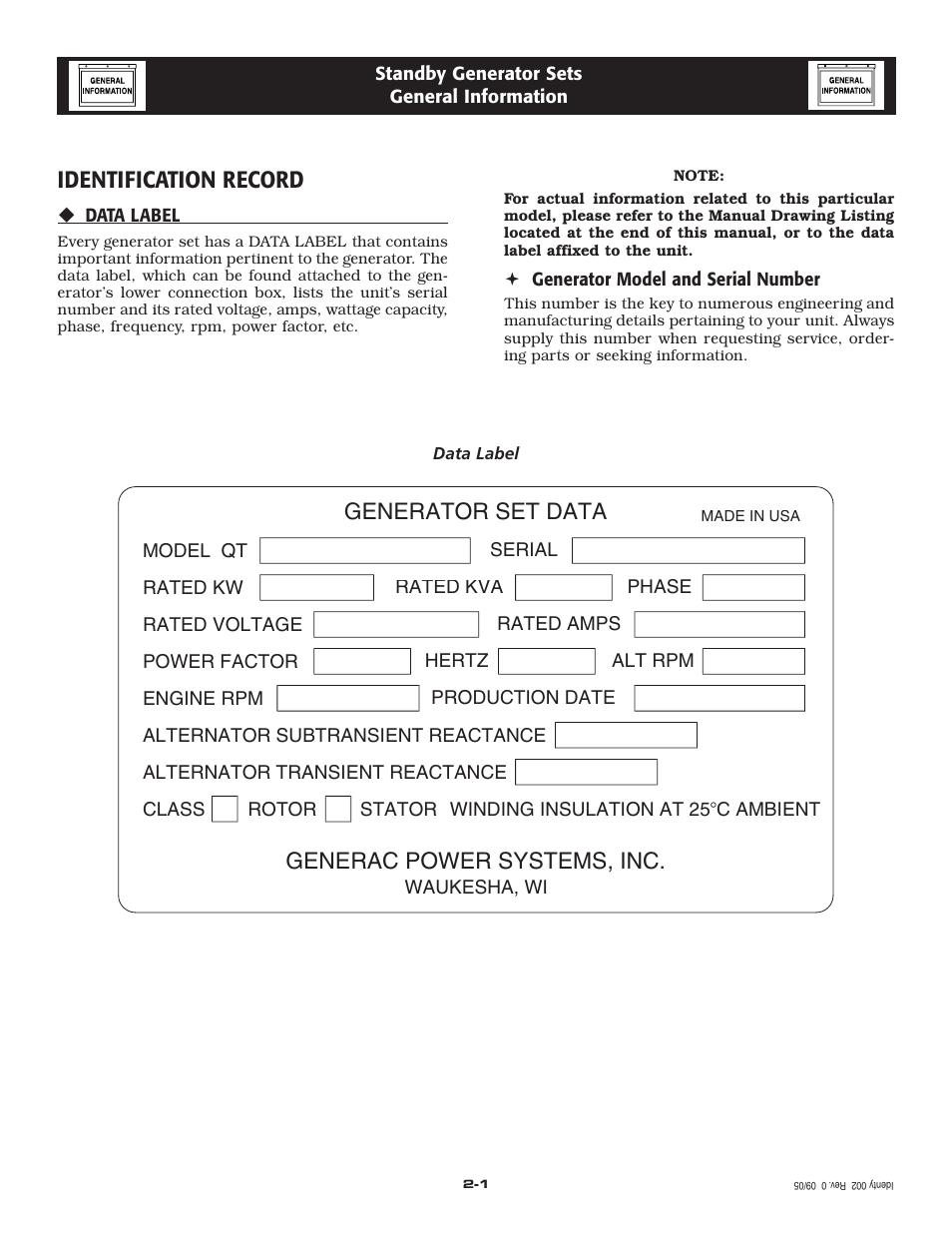 hight resolution of identification record generac power systems inc generator set data generac 20kw user manual page 6 52