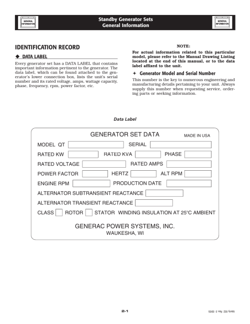small resolution of identification record generac power systems inc generator set data generac 20kw user manual page 6 52