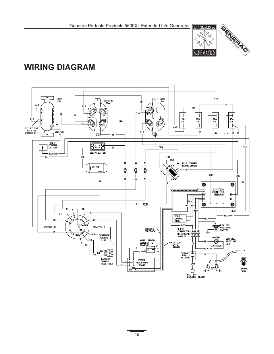 generac generator wiring diagram dakota digital | 5500xl user manual page 15 / 18