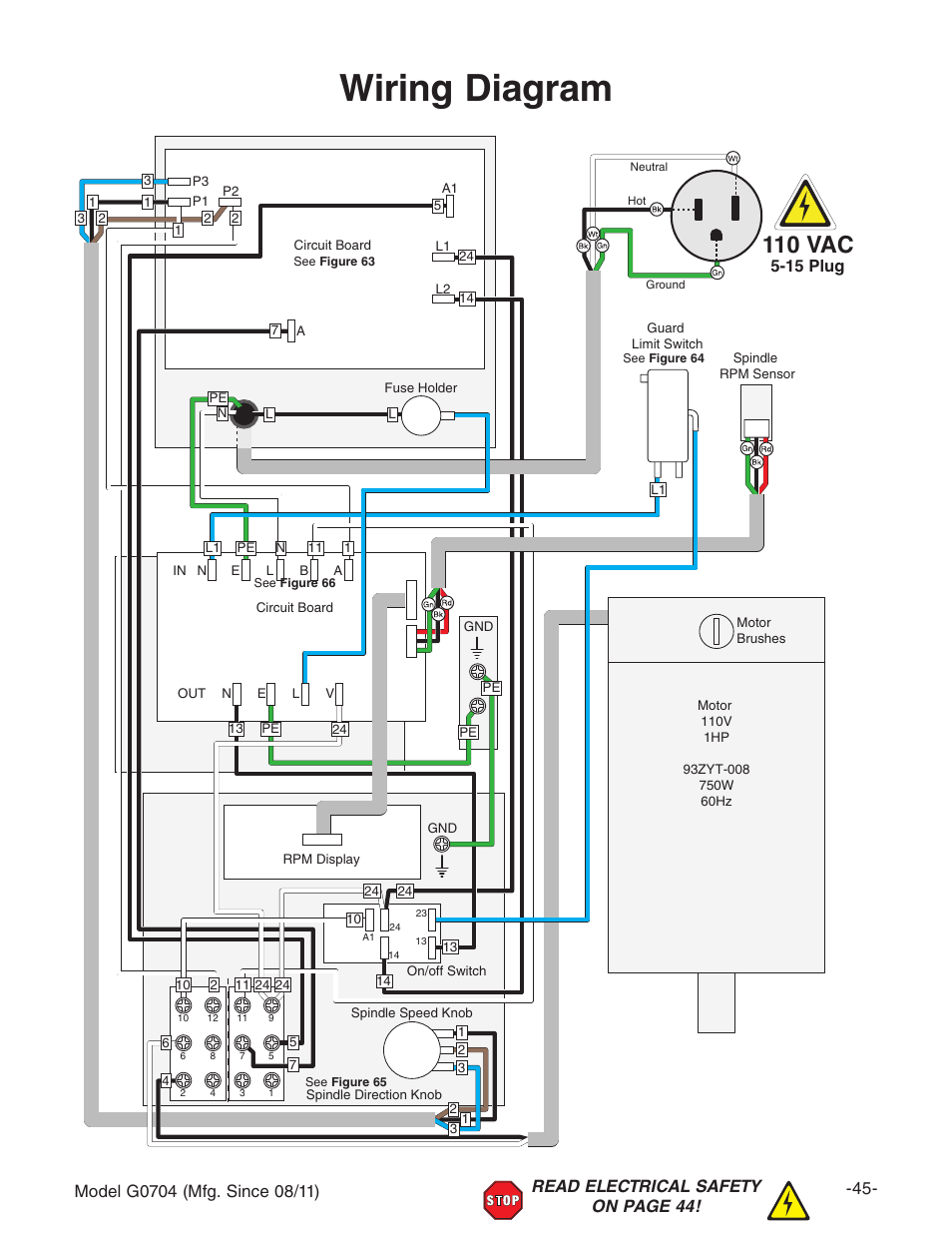 limit switch wiring diagram 12v push diagram, 110 vac | grizzly g0704 user manual page 47 / 60