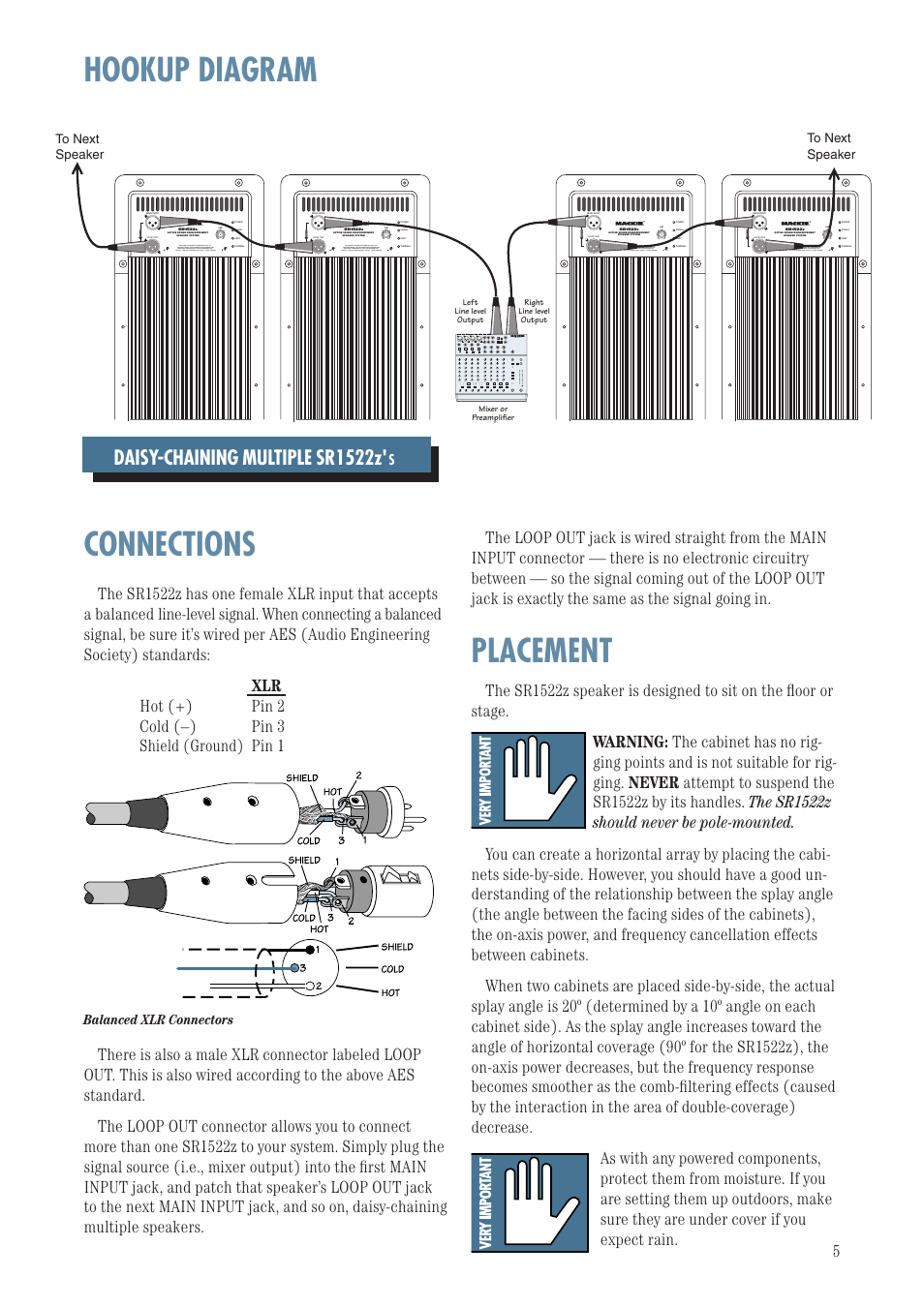 medium resolution of hookup diagram connections placement daisy chaining multiple sr1522z balanced xlr connectors