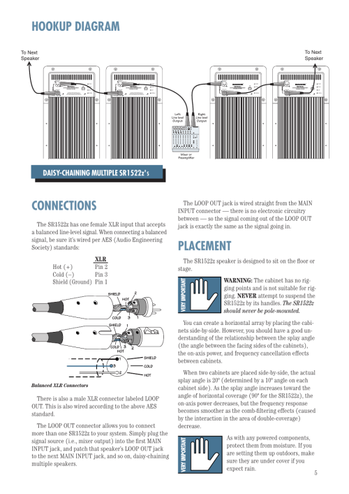 small resolution of hookup diagram connections placement daisy chaining multiple sr1522z balanced xlr connectors