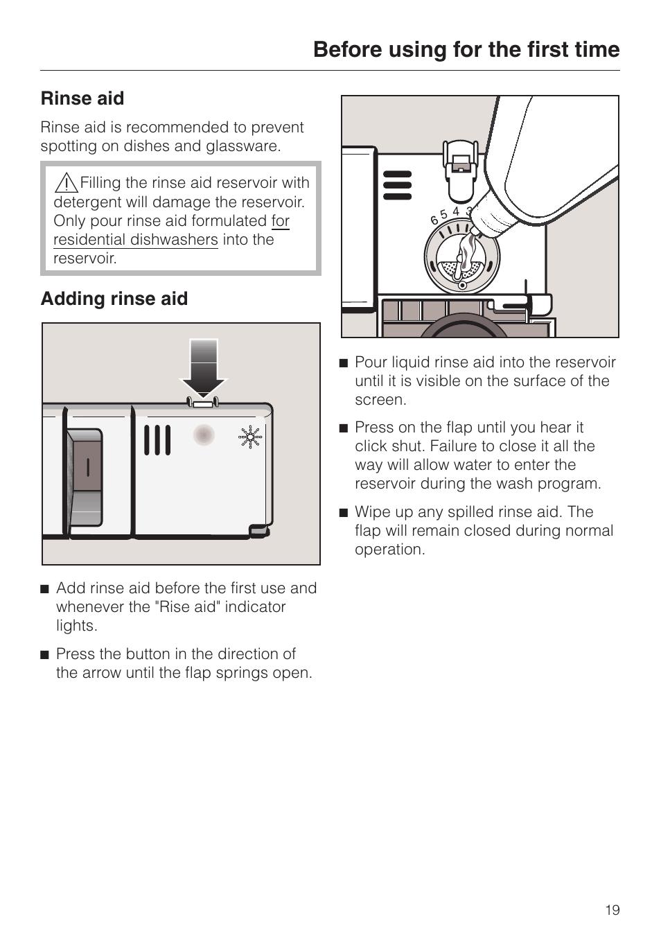 Rinse aid 19, Adding rinse aid 19, Rinse aid adding rinse