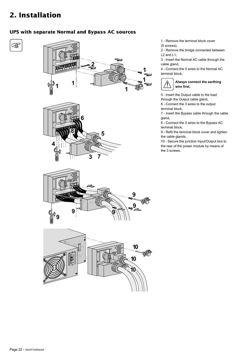 Installation, Ups with separate normal and bypass ac