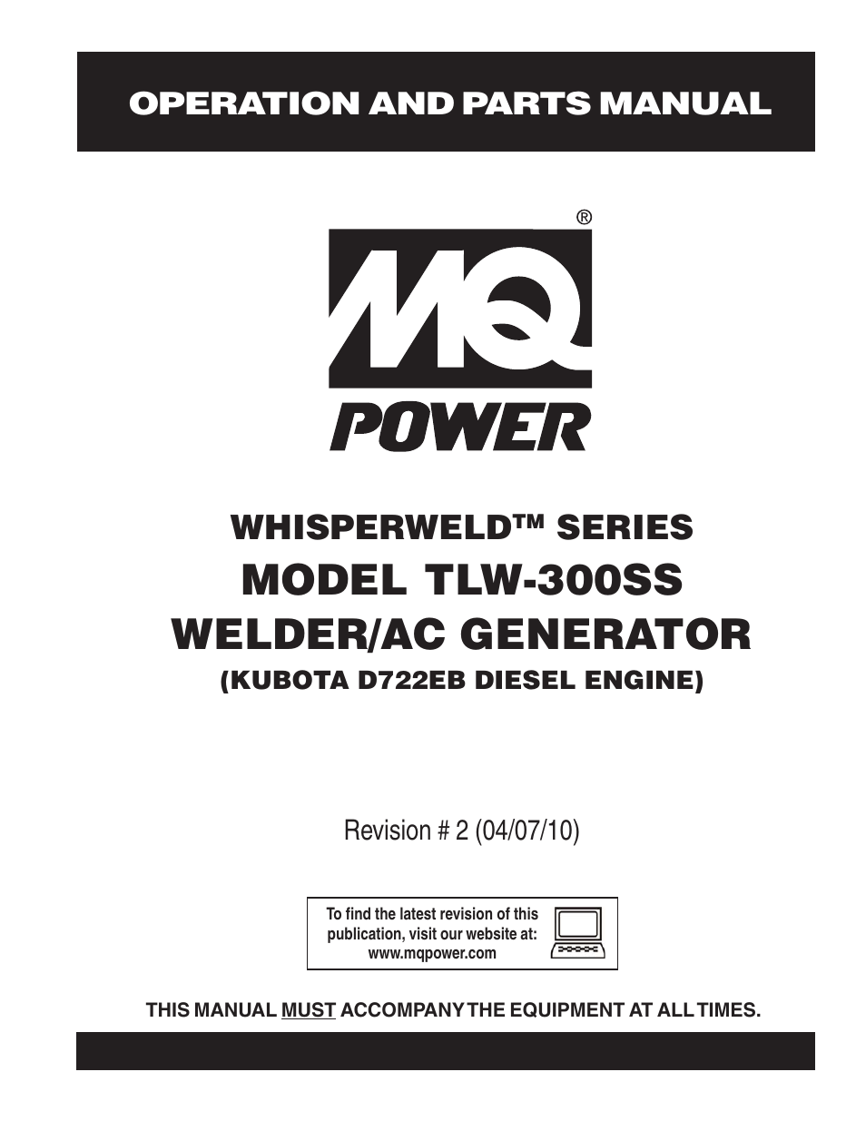 Multiquip MQ Power Whisperweld Welder/AC Generator TLW