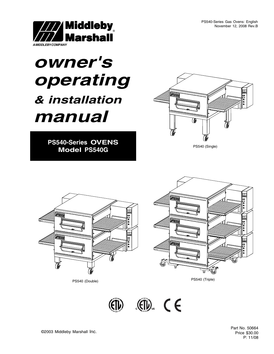Middleby Marshall PS540-Series Ovens PS540G User Manual