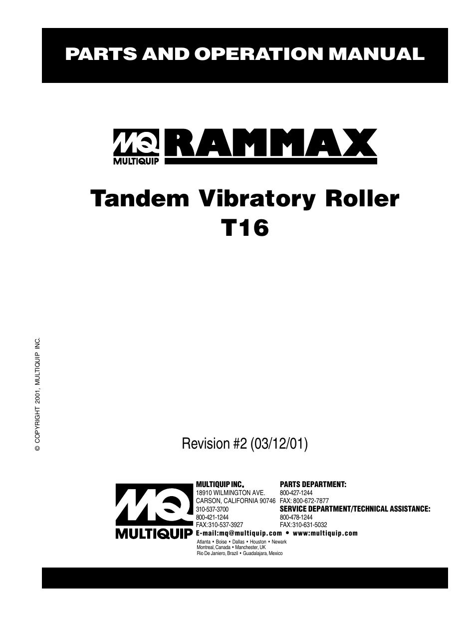 Multiquip Rammax Tandem Vibratory Roller T16 User Manual