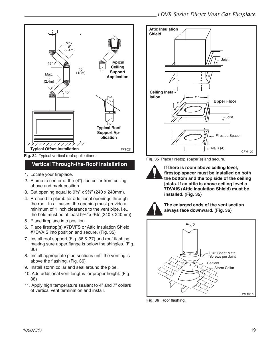 Ldvr series direct vent gas fireplace, Vertical through