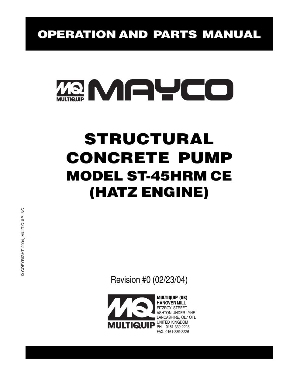 Multiquip Mayco Structural Concrete Pump ST-45HRM CE User