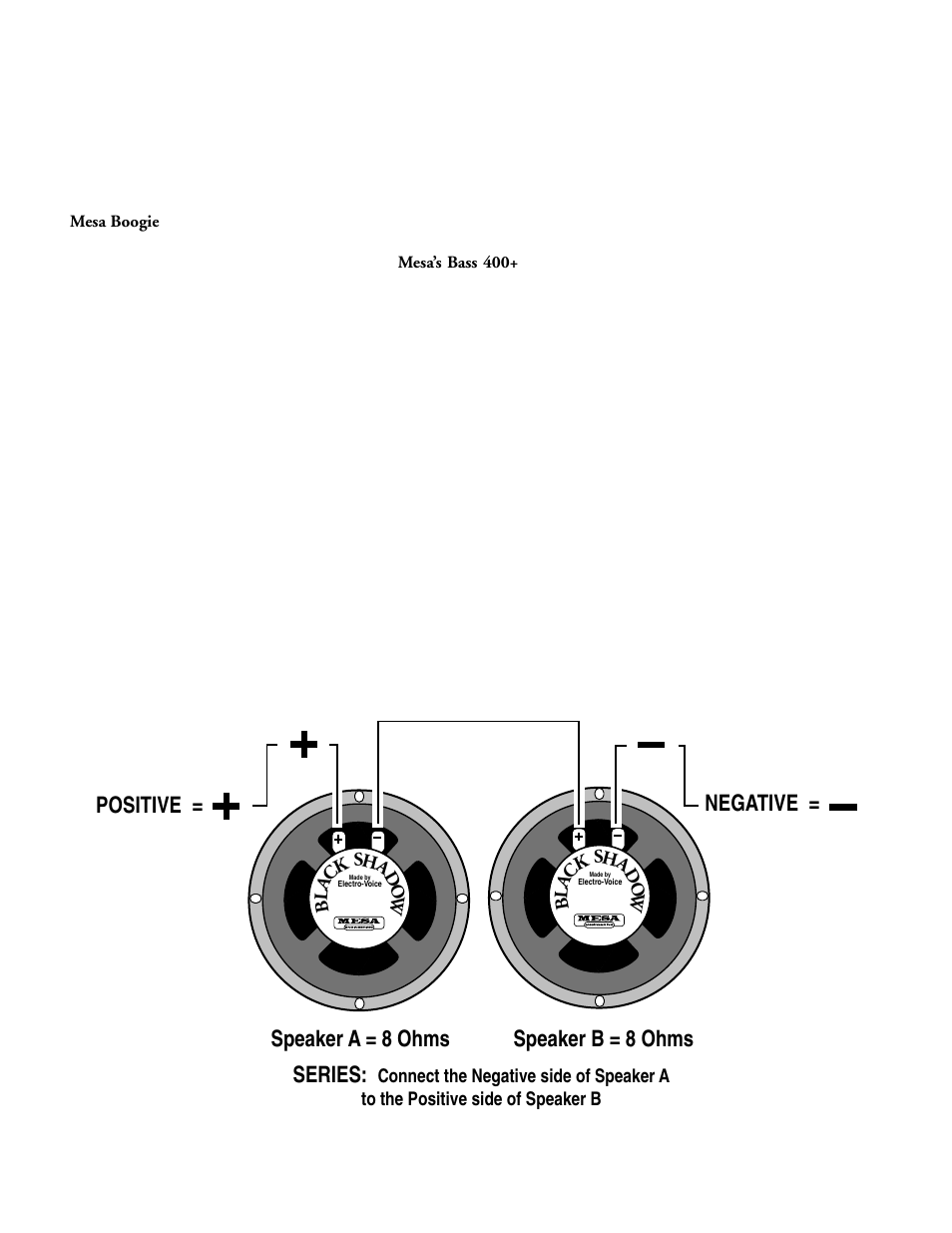 medium resolution of speaker a 8 ohms speaker b 8 ohms series positive negative mesa boogie mark 1 user manual page 16 30