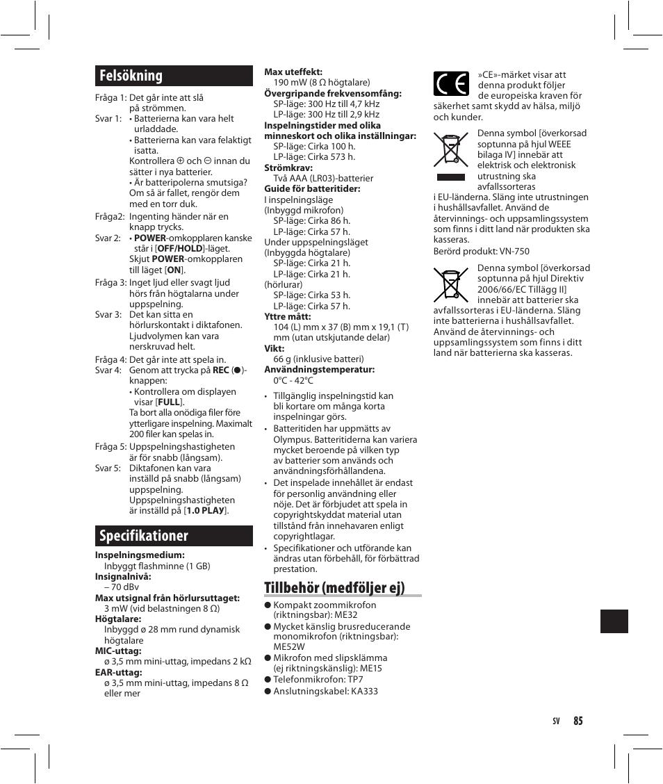 Felsökning, Specifikationer, Tillbehör (medföljer ej