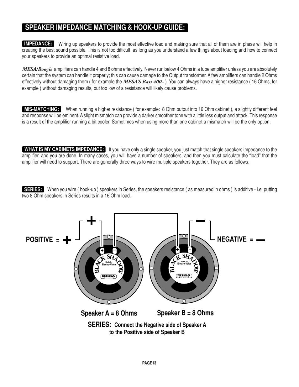 medium resolution of speaker impedance matching hook up guide speaker a 8 ohms speaker b 8 ohms series positive negative mesa boogie rectifier stereo user manual