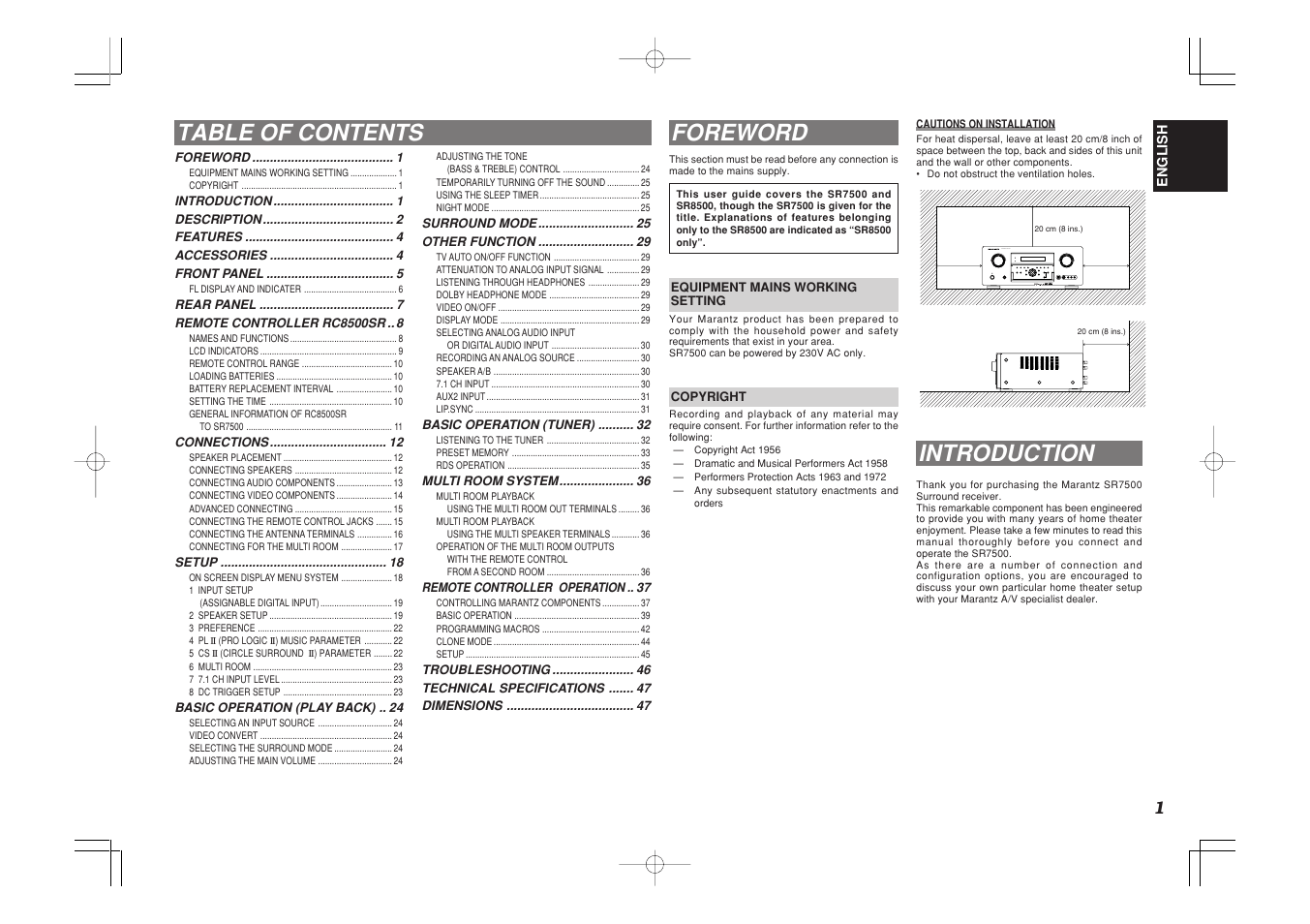 Table of contents foreword, Introduction, Av surround