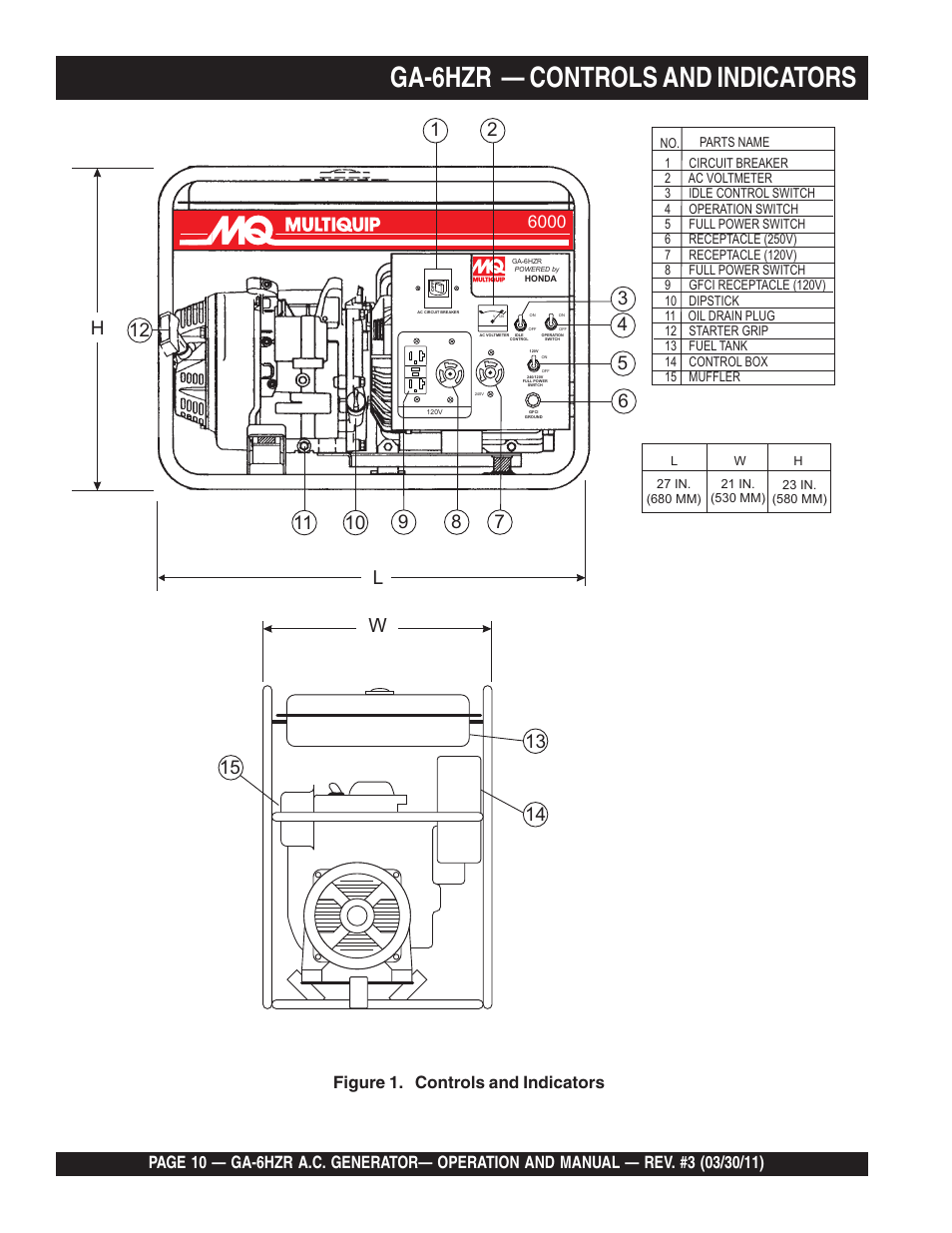 medium resolution of ga 6hzr controls and indicators figure 1 controls and indicators multiquip ga6hzr user manual page 10 70
