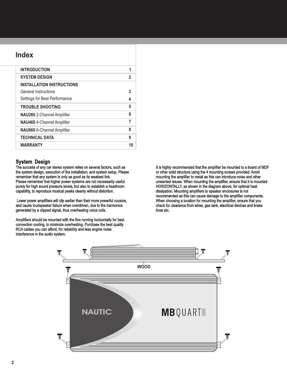 medium resolution of nautic index mb quart nautic amplifier nau460 user manual page 2 10
