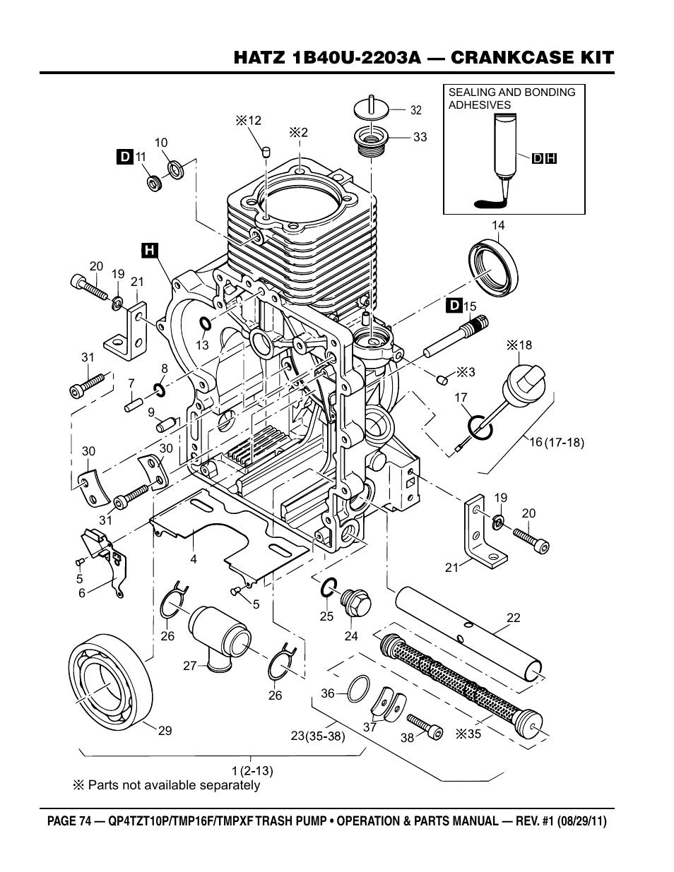 Multiquip TRASH PUMP (hatz 1B40u-2203a diesel engine
