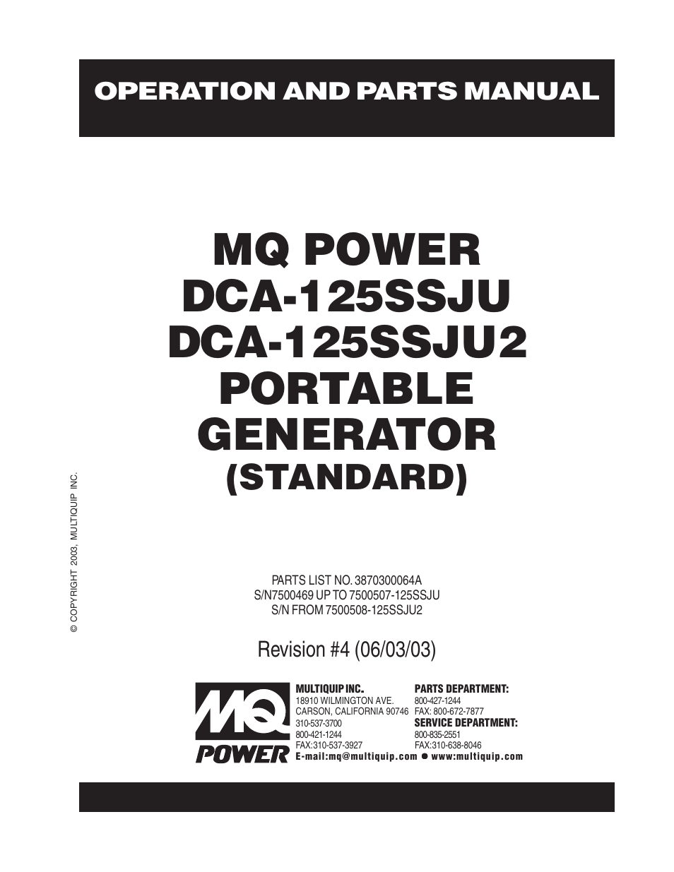 Multiquip MQ Power Portable Generator (Standard) DCA