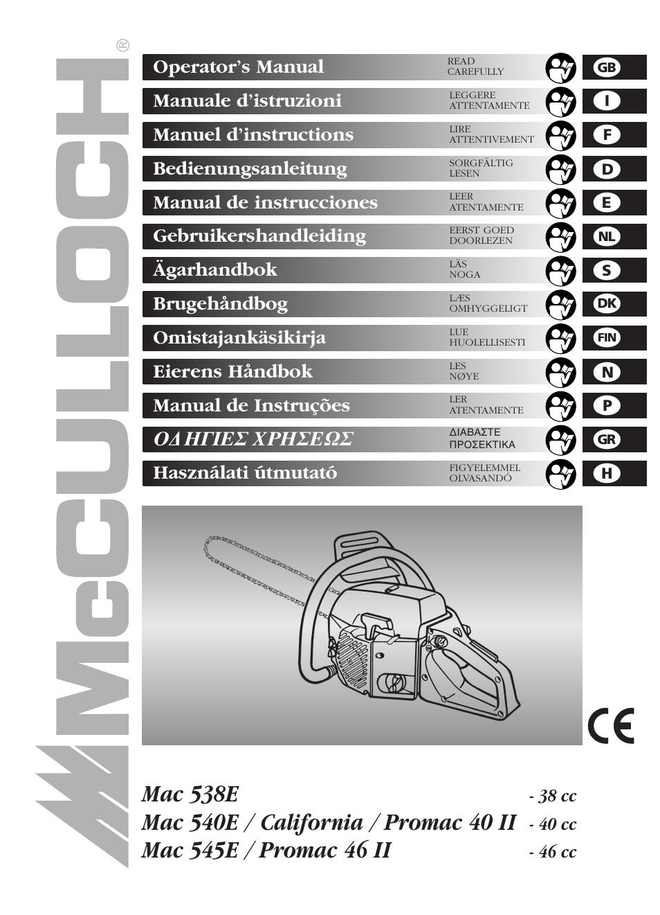 McCulloch Promac 46 II  46 cc User Manual  14 pages  Also for Mac 545E Mac 538E  38 cc